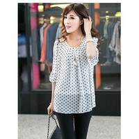 women casual polka dot chiffon shirt black white orange plus size short sleeve blouse shirts big size xl xxl xxxl 3xl 4xl WD015 = 1958650116
