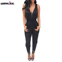 Women Jumpsuit Sexy Deep V-Neck Sleeveless Playsuit Bodycon Fashion Bodysuit Long Solid Trousers