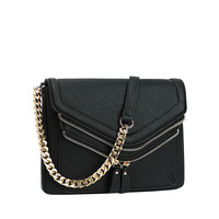 Fold Over Crossbody with Decorative Zippers. Black.