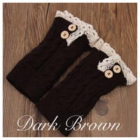 Lace Motif Button Accent Dark Brown Boot Toppers, Boot Cuffs, Leg Warmers, Women's Accessories