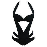 2017  New Arrival Summer Black Halter one piece Swimwear polyester Lycra one-piece swimsuit piece swimsuit girl swimsuit style