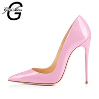 GENSHUO Brand Shoes Woman High Heels Pumps Pink High Heels 8 10 12CM Women Shoes High Heels Wedding Shoes Pumps