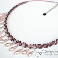 Pink Pearl Chandelier Necklace Gemstone Pear Pair Style Natural Design by Flower GemStone