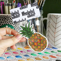 Pineapple - Vinyl Sticker, Pattern Waterproof Sticker, Fruit Decal, Laptop Sticker, Phone Sticker, Ipad Sticker