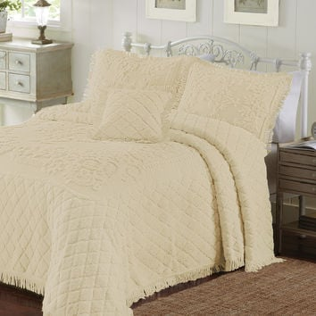 King Size Reed Yellow Chenille Bedspread in 100% Cotton with Fringe Edge