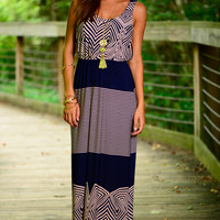 Which Way Maxi, Navy/Peach