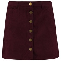 Aalia Button Front Suedette A Line Mini