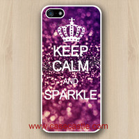 Iphone 5 Case -  Keep Calm and Sparkle on White Iphone 5 case, Iphone 5 cover, Plastic hard case, Waterproof Iphone 5 Case