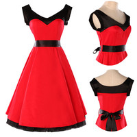 Red Swing Full Flare Jive Swing 50's Housewife pinup Dress Vintage Rockabilly