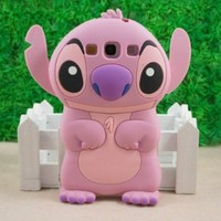 Pink Lilo and Stitch 3D Movable Ear Flip Silicone Case Cover for Samsung Galaxy S3 III i9300 Android