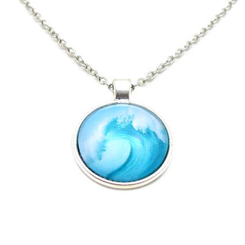Tidal Wave Necklace, Wave Necklace, Surfing Necklace, Beach Necklace, Ocean Necklace, Surfer Jewelry, Picture Necklace, Surfer Charm