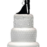 INTRODUCTORY PRICE - Wedding cake topper,  bride and groom wedding cake top,  acrylic wedding cake top,  silhouette wedding cake topper