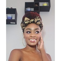 Black and Gold Pre Tie Satin Lined Slip On Headwrap Headband and Mask