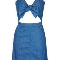 PETITE Bow Front Denim Dress - Dresses - Clothing