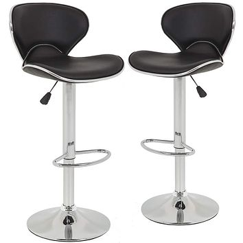 Bar Stools Counter Height Adjustable Bar Chairs With Back Barstools Set of 2 PU Leather Swivel Bar Stool Kitchen Counter Stools Dining Chairs Black