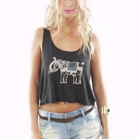 Gray Elephant Embroidered Sleeveless Crop Top