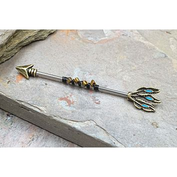 Gold Arrow Beaded 14g Industrial Barbell