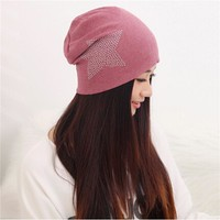 Autumn Winter Knit Baggy Beanie Hat with Star Swan Female Warm Winter Hats for Girls Women Beanies Bonnet Head Caps JH988870