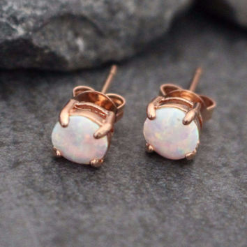 Opal Stud Earrings in Rose Gold