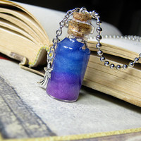Galaxy Nebula in a Glass Bottle Necklace - Space Cork Vial Charm - #01