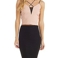 MESH-INSET STRAPPY CROP TOP
