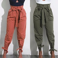 HAREM PANTS WITH TIE-UP ANKLE