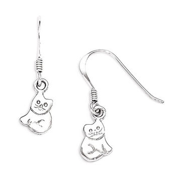 Sterling Silver Small Polished Cat Dangle Earrings