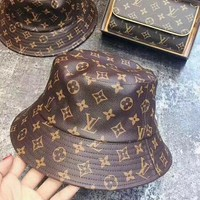 LV Louis Vuitton Classic Women Men Monogram Pu Leather Fisherman Hat Cap