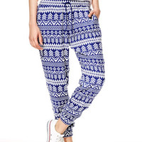 Navy And White Tribal Print Pants - Navy Multi
