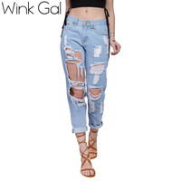 Wink Gal 2016 Cotton Ripped Jeans Boyfriend Jeans Hole High-waisted Pants Brand Trousers ID505