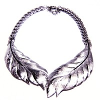 Crystal Feather Leaf Choker Chain Necklace