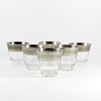 Mid-Century, Silver Band Low Ball Glasses, Temporama by Canonsburg, Set of Six, Atomic Barware