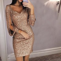 Tassel Lantern Sleeve Sequin Dress Women Sexy V Neck Bodycon Dresses Summer Spring Stylish Party Dress Sequined Vestido