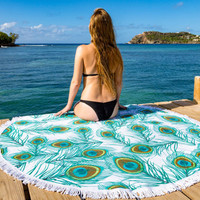 Feather Print Tassel Round Picnic Beach Sheet Coverlet Bohemian Mandala Wall Tapestry 11173