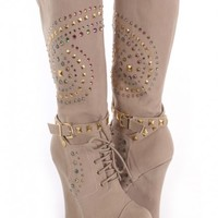 Taupe Rhinestone Mid Calf Wedge Boots Faux Suede