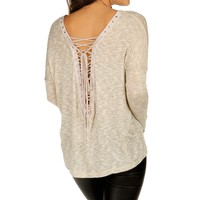 Sale-ivory Lace-up Back Top