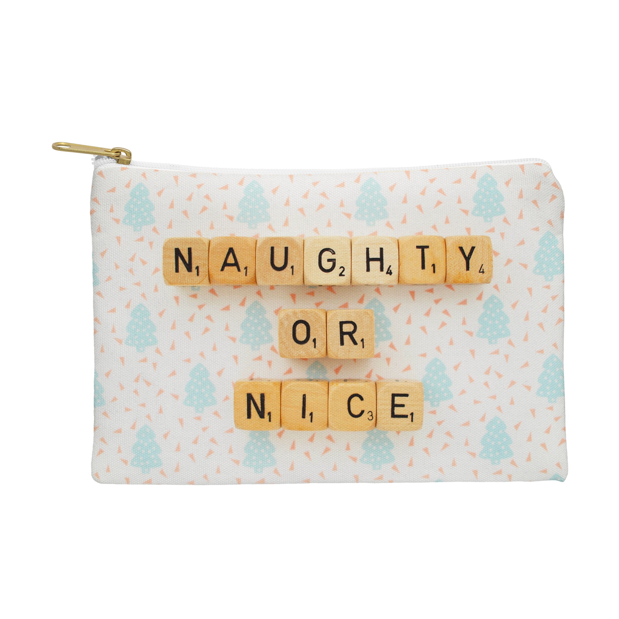Image of Happee Monkee Naughty or Nice Scrabble Pouch