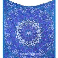 Big Blue Star Bohemian Mandala Tapestry Wall Hanging Hippie Dorm Bedspread on RoyalFurnish.com