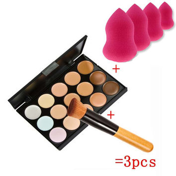 Beauty 15 Colors Cream Makeup Set pinceis de maquiagem Concealer Palette Sponge Gourd Puff Powder Brush