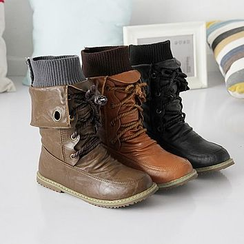 Lace Up Soft Leather Flat Motorcycle Boots 9619