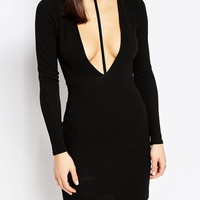Boohoo Petite Cut Out Front Crepe Bodycon Dress