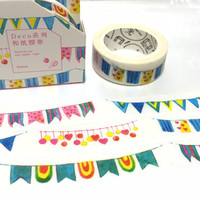 party banner washi tape 8M colorful flag banner flag party invitation banner sticker tape flag banner deco masking tape kids party decor
