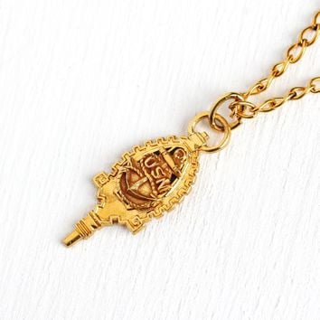 USN Key Fob - 1940s Mid Century Era New Old Stock Gold Wash Pendant Charm Necklace - Vintage United States Navy Anchor Durocharm NYC Jewelry