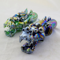 Iridescent Tribal Dragon Glass Tobacco Pipe - HP138M