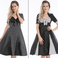 free shipping real photo New R1024 Pleated Polka Dot Rockabilly Dress Pin Up Swing 50s 40s party dress plus size s-6xl