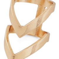 ModCloth Festival Put a Ring Chevron It! Ring in Gold
