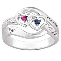 Couple's Name and Birthstone Hearts Ring - FindGift.com