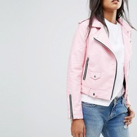 Mango Faux Leather Biker Jacket at asos.com