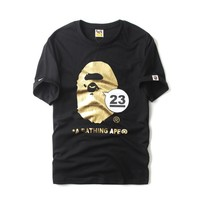 Bape Cartoons Print Short Sleeve Summer Cotton Bottoming Shirt [415654805540]