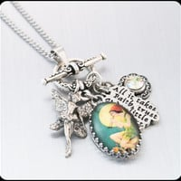 Peter Pan Necklace, Tinkerbell Necklace, Peter Pan Jewelry, Pixie Necklace, Pixie Dust Charm